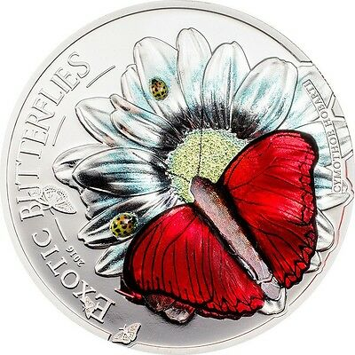 Tanzania 1,000 Shillings, 25g Silver Proof Coin, 2016, Exotic Butterfly in 3D