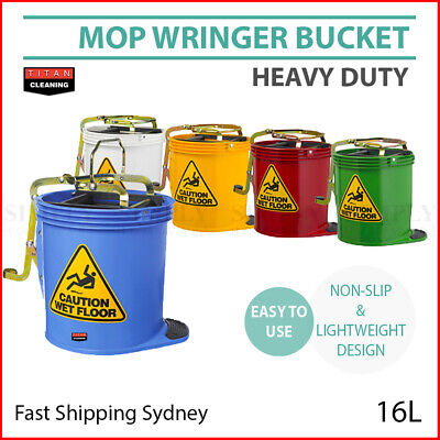 Mop Bucket Wringer Buckets 16L Heavy Duty Commercial Cleaning Supplies Home