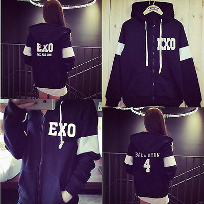 Kpop EXO EXO'rDIUM Zipper Hoodie Chanyeol Sweater Baekhyun Lay SweaterShirt Coat