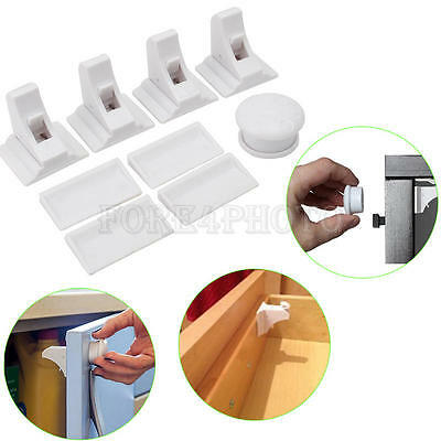 4 Set Magnetic Cabinet Locks Child Proof Cupboards Drawers Invisible Baby Safety