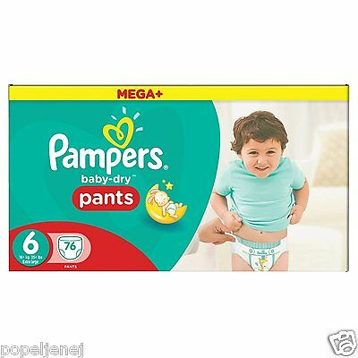 Pampers Mega Plus Baby Dry Pants Size 6, Monthly Saving Pack of 76 Free P&P NEW