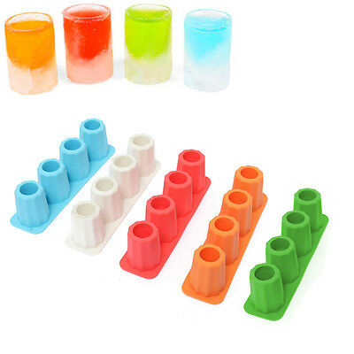 4-Cup Shape Rubber Shooters Ice Cube Shot Glass Freeze Mold Maker Tray Party HOT