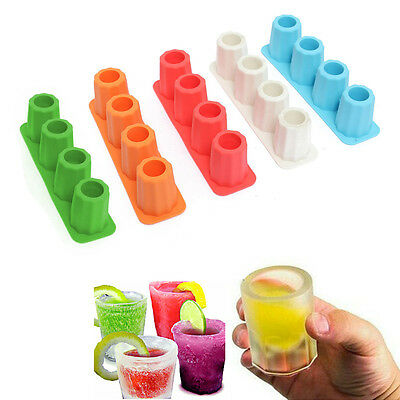 Cool 4 Cup Shape Rubber Shooter Ice Cube Shot Glass Freeze Mold Tray jelly Party