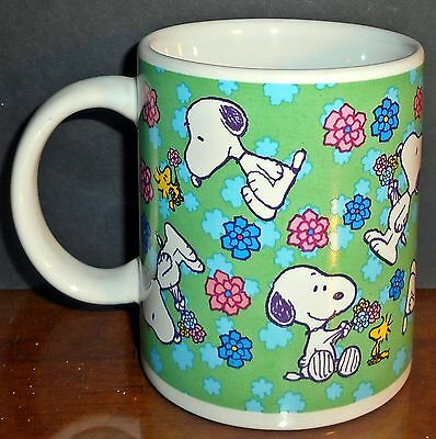 Peanuts Snoopy and Woodstock with Flowers Coffee Mug Cup