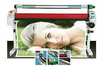"New 1630mm 64"" Hot Cold Laminator Roll Laminating Heat Assistance+Auto Take Up"