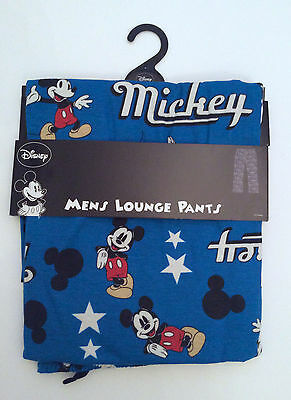NEW MEN'S MICKEY MOUSE PETROL BLUE LOUNGE PANTS PJ BOTTOMS SIZES: SMALL up to XL