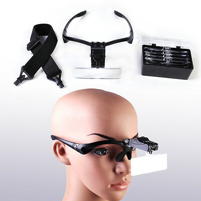 2-LED Headband Headset LED Head Light + 5 Lens Magnifier Magnifying Glass Loupe