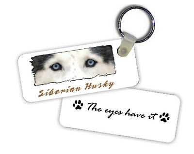 "Siberian Husky W/ blue eyes  "" The Eyes Have It  ""  Key  Chain"