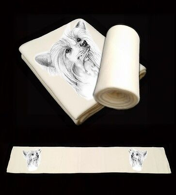 Chinese Crested Dog Puppy Printed Design Blanket Throw Runner-2 by paws2print