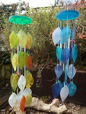 FairTrade Hand Made Crafted Capiz Shell Leaf Wind Chime Windchime Hanging Mobile