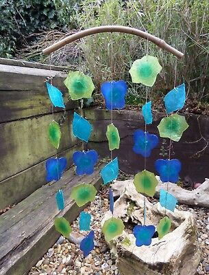 Fair Trade Hand Made Rainbow Capiz Shell Leaves Leaf Wind Chime Windchime Mobile
