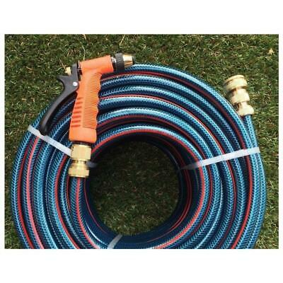 "50M Flex 12MM Water Hose Brass Fittings & Gun 8/10 Non-Kink Bonus 1/2"" Sprinkler"