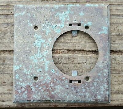 Vtg Brass Outlet Cover Aged Patina Steampunk Industrial Altered Art Repurpose