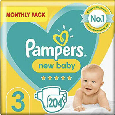 Pampers Size 3 Baby Premium Protection Nappies Monthly Saving Pack of 204 NEW