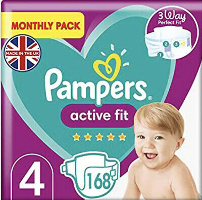Pampers Size 4 Baby Premium Protection Nappies Monthly Saving Pack of 168 NEW
