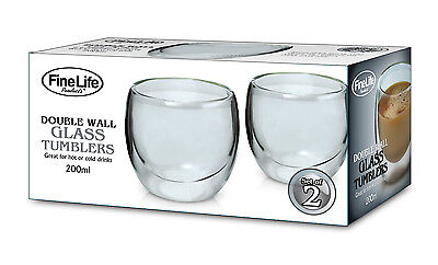 Double Wall Glass Tumbler Set of 2 x 200ml Drinking Glasses coffee tea Water