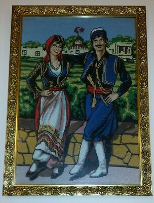 Framed Tapestry Antique Gold Frame Wall Hanging Art European Turkish Costume Man