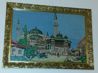 Framed Tapestry Antique Frame Wall Hanging Cultural Art Mosque Muslim Allah God