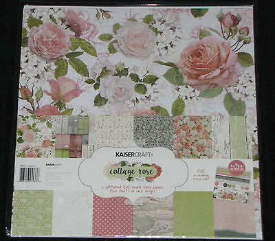 "Kaisercraft 'COTTAGE ROSE' 12x12"" Paper Pk + Stickers Floral KAISER *Deleted*"