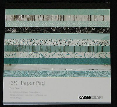 "Kaisercraft 'SEA BREEZE' 6.5"" Paper Pad Turquoise/Floral/Flowers *NEW* KAISER"