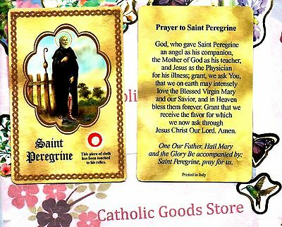 St Peregrine with Relic and Prayer - Relic -  Paperstock Holy Card