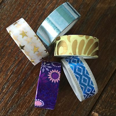Washi Tape Coloured Foil 5 Piece Set 15Mm Wide X 5Mtr Roll Scrap Plan Craft Wrap