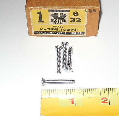 4 Vintage NOS Pheoll Nickel Plated Brass Machine Screws Oval Head Slot 6/32 X 1""