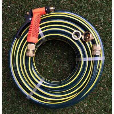 "Garden Water Hose Proflex 1/2"" - 12MM Brass Fittings & Gun 30M Kink Free 9.5/10"