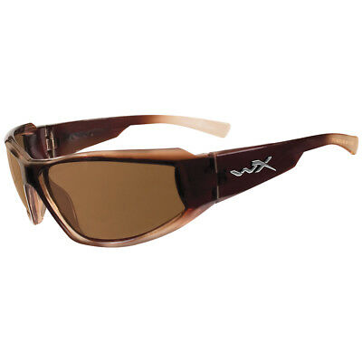 Wiley X Jake Glasses Antiscratch Polarised Brown Lens Gloss Brown Fade Frame