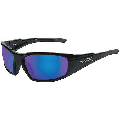 Wiley X Wx Rush Glasses Combat Army Polarised Blue Mirror Lens Gloss Black Frame
