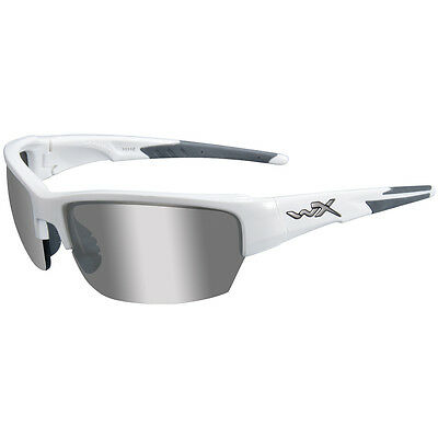 Wiley X WX Saint Glasses Combat Ballistic UV Silver Flash Lens Gloss White Frame