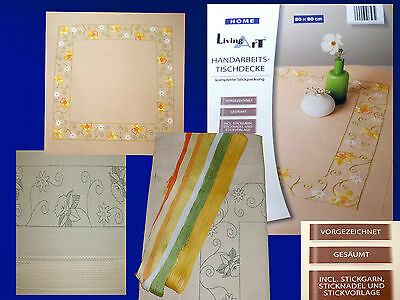 Embroidery package Handarbeits Tablecloth 80x80 with yarn Instructions Stickset