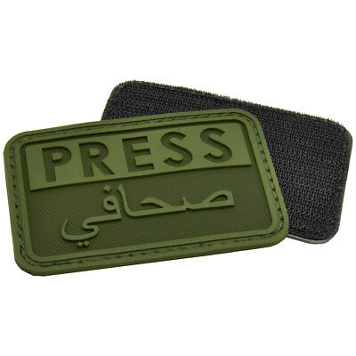 Hazard 4 Press / Arabic Reporters Morale Patch Media Rubber Army Badge Od Green