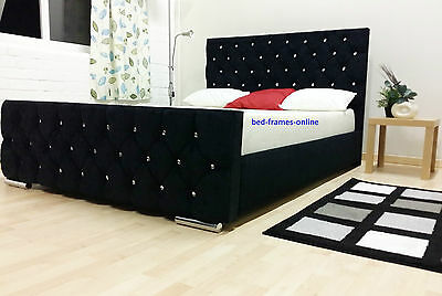 Chenille Fabric Upholstered  Diamante Bed Frame Single Double King Size