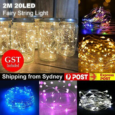 2M Battery Operated Lights 20 LED Micro Silver Wire Waterproof Fairy Xmas Party
