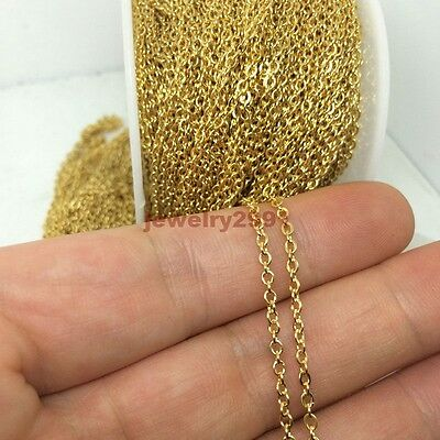 In Bulk Anti-Tarnish Gold Stainless Steel Flat/Round Cable Rolo Chain Oval Link