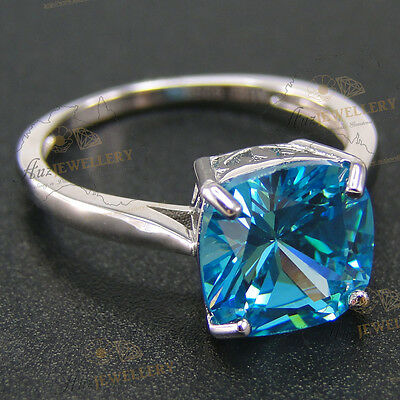 10mm 5ct Cushion cut Created Aquamarine Engagement Wedding Ring Real 925 Silver