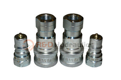 """2 Sets of 1/4"""" ISO 7241-B Hydraulic Quick Disconnect Couplers"""