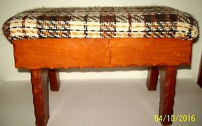 "VINTAGE 1960s 1970s upholstered FOOT STOOL wood OTTOMAN SOLID 17"" footstool"