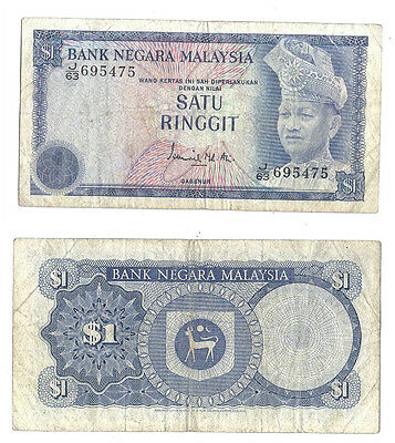 Malaysia 1 Ringgit ND (1972-76) at (VF) Condition Banknote P-7