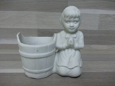 Vintage biscuit statue little girl on her knies with pot - toothpick hold