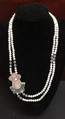 Lee Sands Mother of Pearl & Rose Quartz  Flower Inlaid Necklace Signed