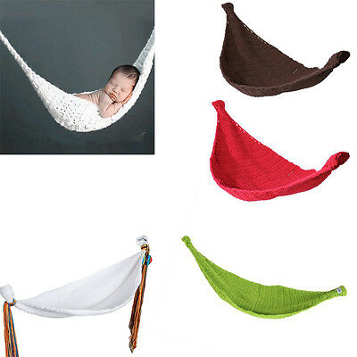 Newborn Crochet Baby Hammock Photography Props Knitted Infant Costume Toddler