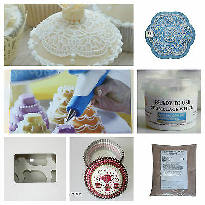 Red Velvet Cake Mix, Muffin Cases, Cupcake Box, Sugar Lace, Lace Mat, Icing Pen