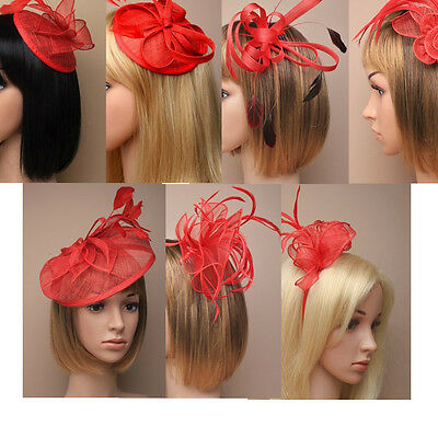 Red Fascinator on Headband/ Clip-in for Weddings, Races and Occasions