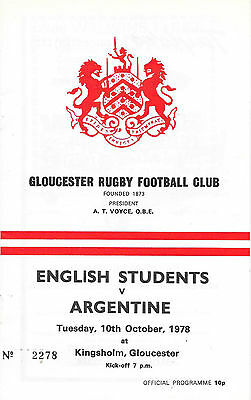 1978 - English Students v Argentina, Touring Match Programme.