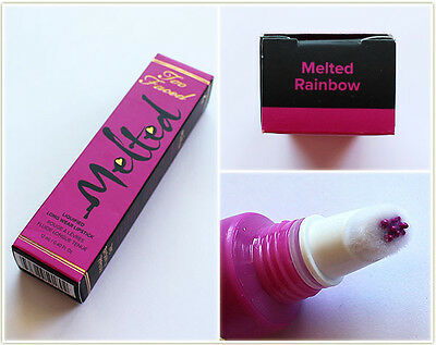 NIB Too Faced Full Size Melted Lipstick in Rainbow (Magenta)Saturated Lip Color!