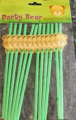 """Teddy Bear Party Range. """"Pack of 12 Party Drinking Straws"""". Childrens Birthday"""