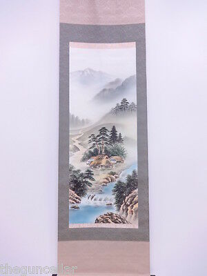 Beautiful Japanese Wall Scroll Printed Scenery Village Mountains With Wood Box