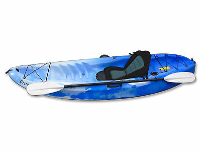 Blue sit-on-top plastic kayak 9FT with detachable Paddle - Five Oceans
